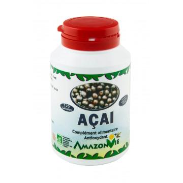 Açai lyophilisé 120 gélules chargées à 300 mg soit 36 g de produit.